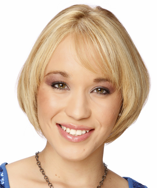 Short Straight Formal Bob  Hairstyle with Side Swept Bangs  - Light Blonde (Honey)