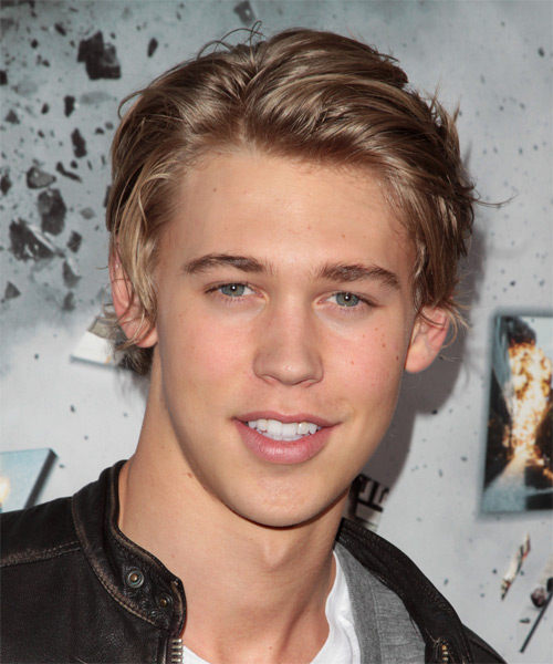 Austin Butler Short Straight Casual    Hairstyle   - Dark Strawberry Blonde Hair Color