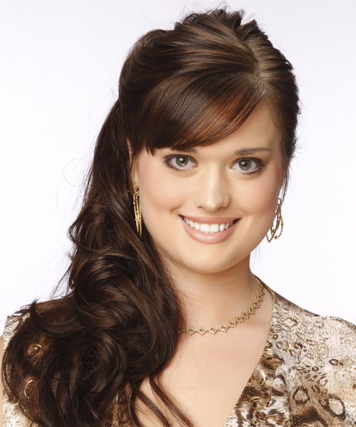 Updo Long Curly Formal Wedding Updo Hairstyle with Side Swept Bangs  - Medium Brunette (Chocolate)