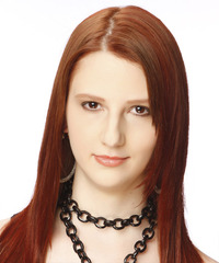 Long Straight Casual    Hairstyle   -  Auburn Red Hair Color