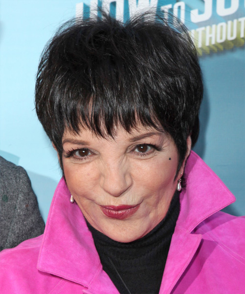 Liza Minnelli Short Straight Casual   Hairstyle with Layered Bangs  - Black