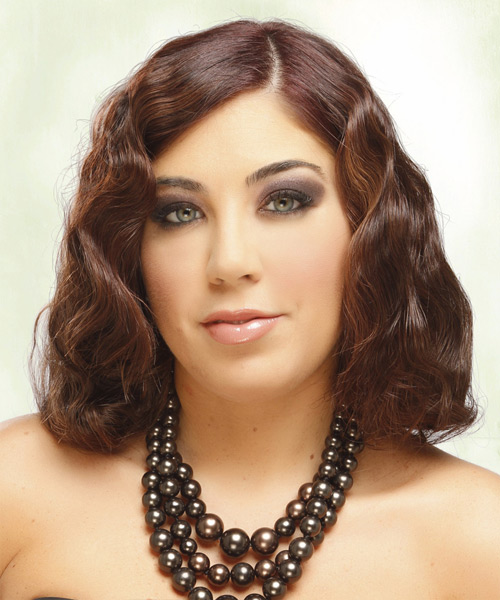 Medium Wavy Formal  Bob  Hairstyle   -  Mahogany Brunette Hair Color