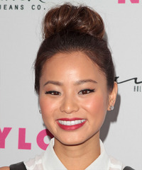 Jamie Chung  Long Curly Casual   Updo Hairstyle   -  Brunette Hair Color