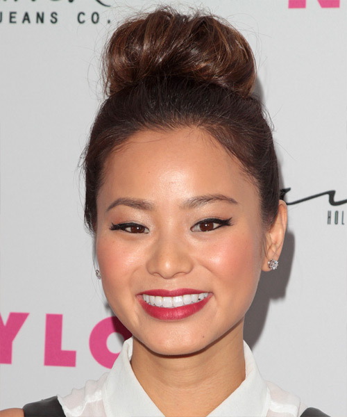 Jamie Chung Updo Long Curly Casual Wedding Updo Hairstyle   - Medium Brunette