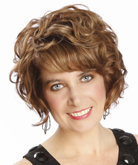 Short Curly    Chestnut Brunette   Hairstyle with Side Swept Bangs  and  Blonde Highlights