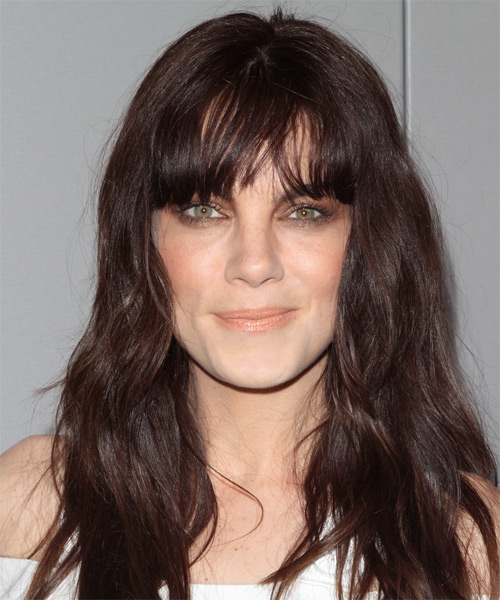 Michelle Monaghan Long Wavy Casual   Hairstyle with Blunt Cut Bangs  - Dark Brunette (Chocolate)
