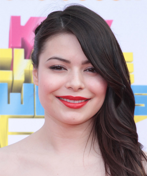 Miranda Cosgrove  Long Curly Formal   Half Up Hairstyle   - Dark Brunette Hair Color