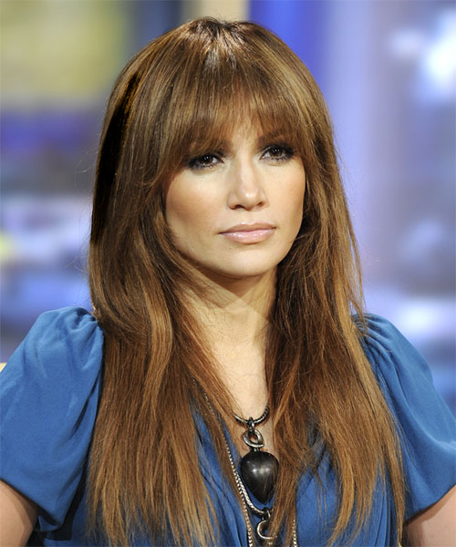 Jennifer Lopez Long Straight    Ash Brunette   Hairstyle with Blunt Cut Bangs  and Dark Blonde Highlights