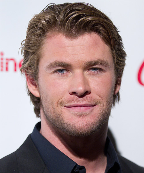 Chris Hemsworth Short Straight Casual Hairstyle Dark Blonde