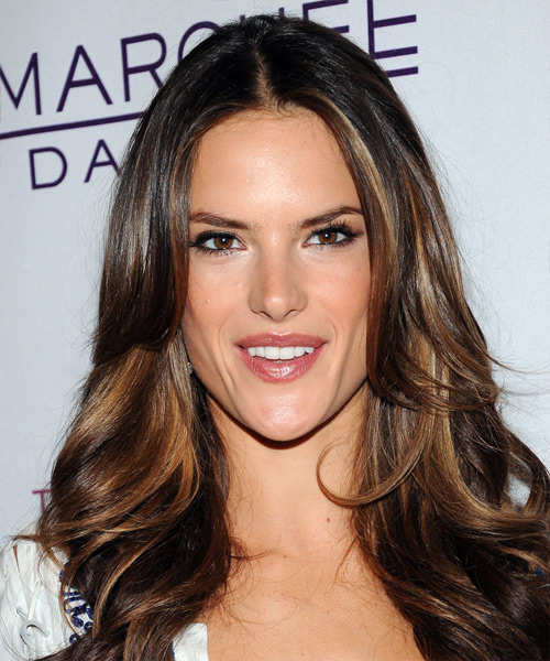 Alessandra Ambrosio Long Wavy Formal    Hairstyle   - Dark Brunette Hair Color with Dark Blonde Highlights