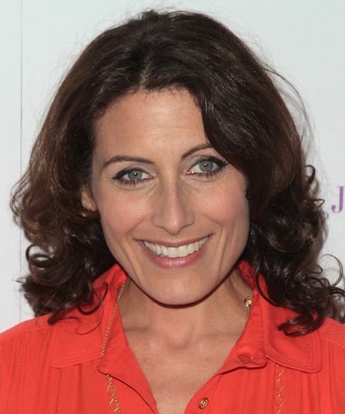 Lisa Edelstein Medium Wavy Casual   Hairstyle   - Dark Brunette