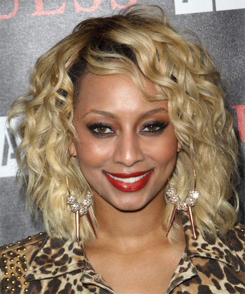 Keri Hilson  Medium Wavy Formal   Hairstyle   - Medium Blonde
