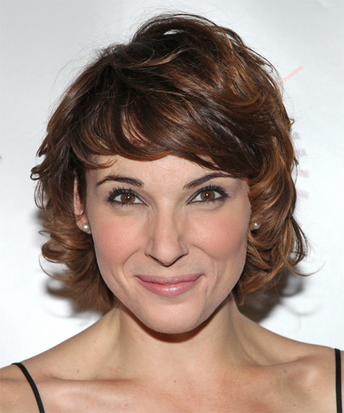 Chryssie Whitehead  Short Wavy Formal   Hairstyle with Side Swept Bangs  - Medium Brunette (Auburn)