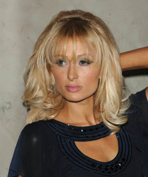 Paris Hilton Long Wavy Formal    Hairstyle with Layered Bangs  -  Golden Blonde Hair Color
