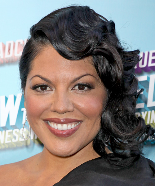 Sara Ramirez Medium Wavy Formal   Hairstyle with Side Swept Bangs  - Black