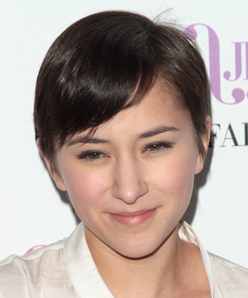 Zelda Williams Short Straight Casual    Hairstyle with Side Swept Bangs  - Dark Brunette Hair Color