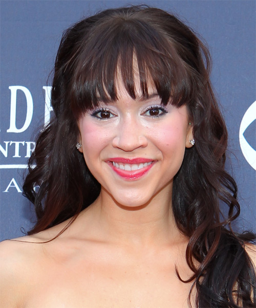 Diana DeGarmo Half Up Long Curly Formal  Half Up Hairstyle with Layered Bangs  - Dark Brunette