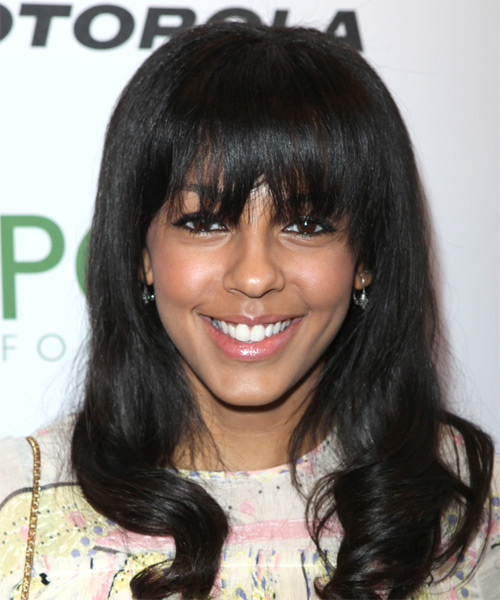 Marsha Thomason  Long Wavy Casual   Hairstyle with Layered Bangs  - Black