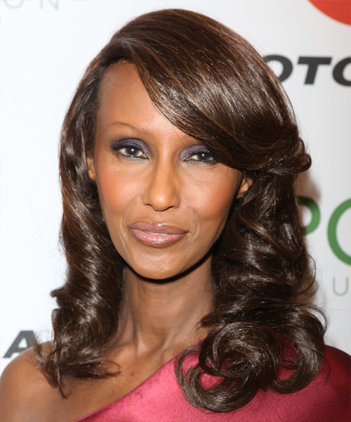 Iman Medium Wavy Formal   Hairstyle with Side Swept Bangs  - Black