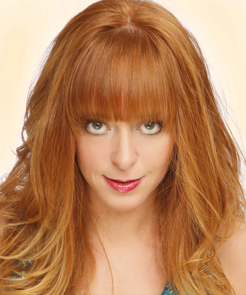 Long Straight Casual   Hairstyle with Blunt Cut Bangs  - Light Red (Ginger)