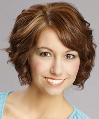 Short Curly    Auburn Brunette   Hairstyle with Side Swept Bangs  and Light Blonde Highlights