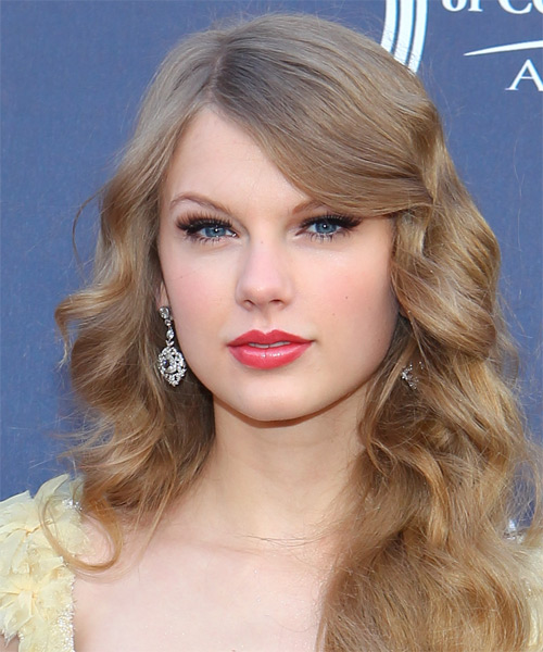Taylor Swift Long Wavy   Dark Blonde   Hairstyle with Side Swept Bangs