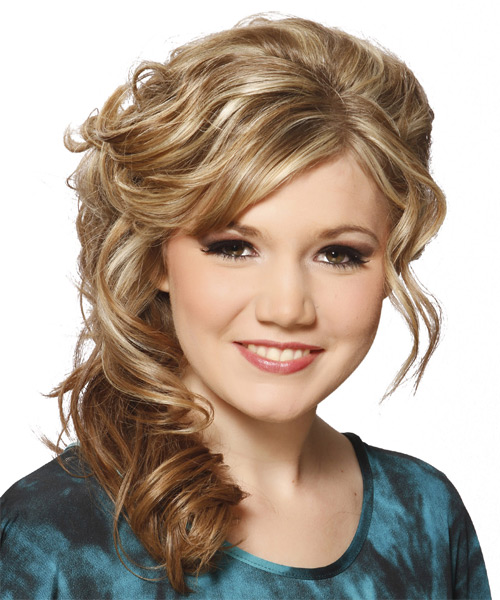 Long Curly    Blonde  Half Up Hairstyle with Side Swept Bangs  and Light Blonde Highlights