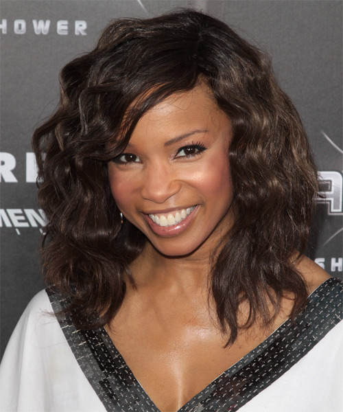 Elise Neal Medium Wavy Casual   Hairstyle with Side Swept Bangs  - Dark Brunette