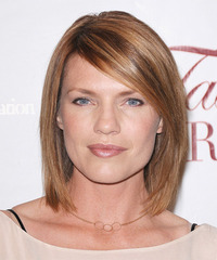 Kathleen Rose Perkins  Medium Straight Layered  Light Brunette Bob  Haircut with Side Swept Bangs  and  Brunette Highlights