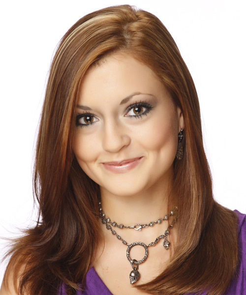 Long Straight Formal    Hairstyle   -  Auburn Brunette Hair Color with Light Blonde Highlights