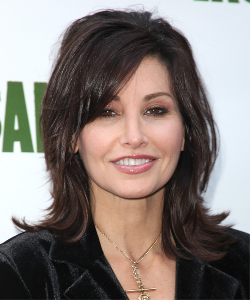 Gina Gershon Medium Straight Casual   Hairstyle with Side Swept Bangs  - Dark Brunette