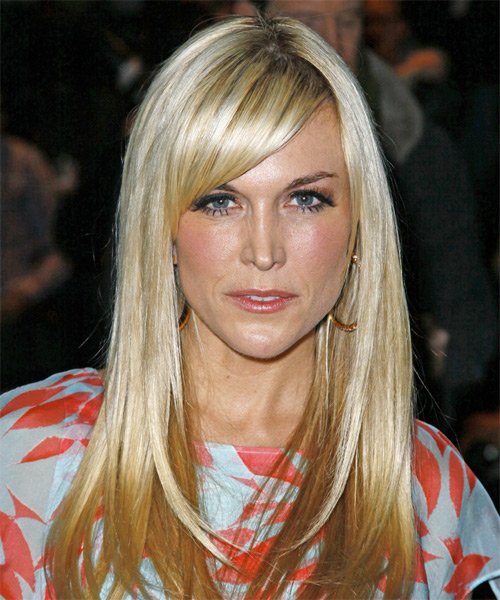 Tinsley Mortimer Long Straight Casual   Hairstyle with Side Swept Bangs  - Light Blonde (Golden)