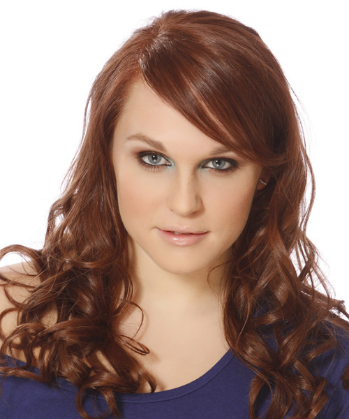 Long Wavy   Light Auburn Brunette   Hairstyle with Side Swept Bangs