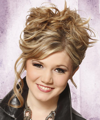 Long Curly Casual   Updo Hairstyle   -  Blonde Hair Color with Light Blonde Highlights