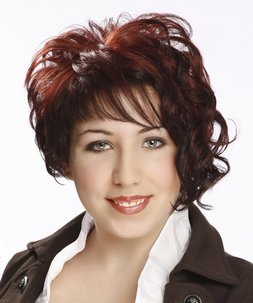 Short Curly Formal Asymmetrical  Hairstyle with Asymmetrical Bangs  - Dark Red