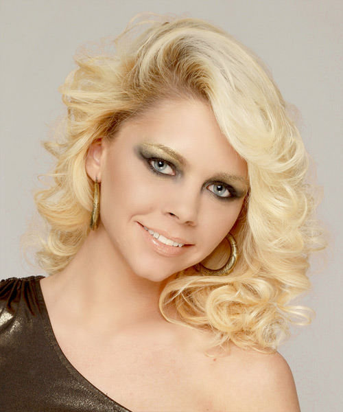 Medium Curly Formal    Hairstyle   - Light Platinum Blonde Hair Color