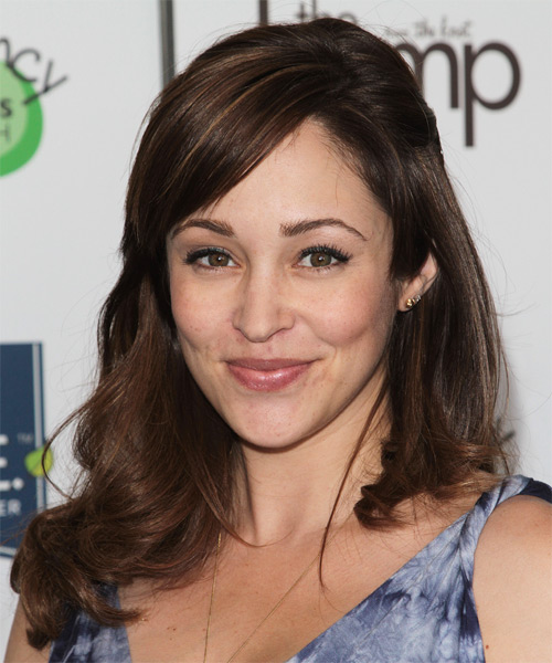 Autumn Reeser Half Up Long Curly Casual  Half Up Hairstyle with Side Swept Bangs  - Dark Brunette