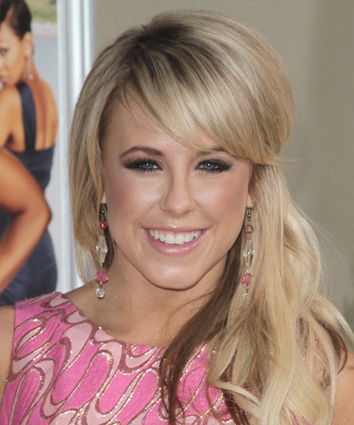 Chelsie Hightower Half Up Long Straight Casual  Half Up Hairstyle with Side Swept Bangs  - Light Blonde