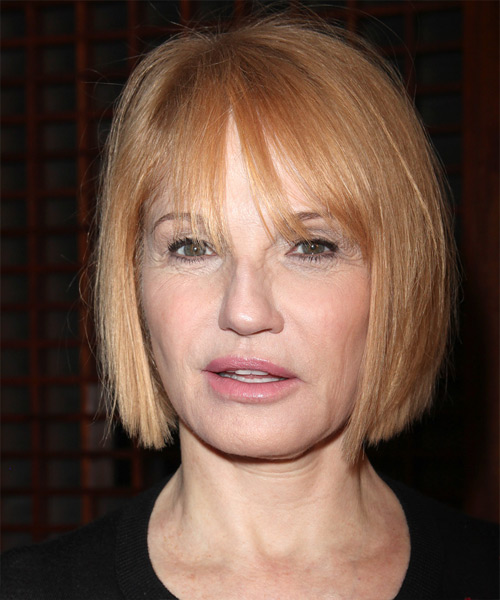 Ellen Barkin Short Straight Casual Bob  Hairstyle with Layered Bangs  - Light Blonde (Strawberry)