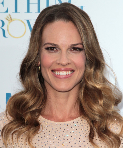Hilary Swank Long Wavy Formal    Hairstyle   - Light Brunette Hair Color