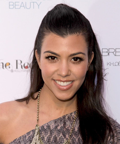 Kourtney Kardashian Long Straight Dark Brown Half Up Hairstyle