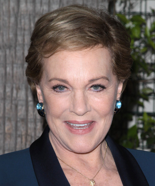 Julie Andrews Short Straight Casual    Hairstyle with Side Swept Bangs  - Light Brunette Hair Color