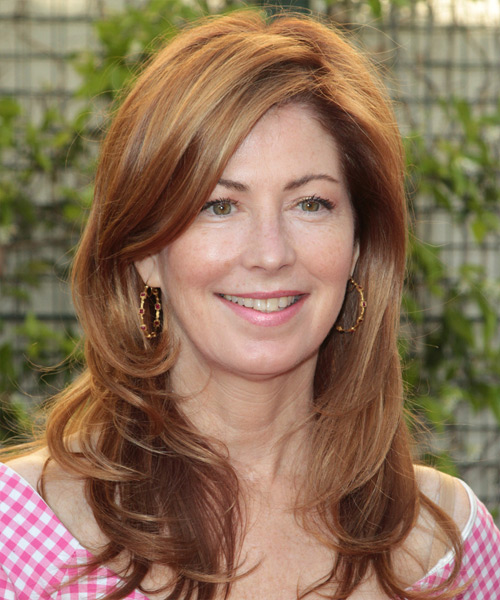 Dana Delaney Long Straight Formal    Hairstyle   - Light Copper Red Hair Color