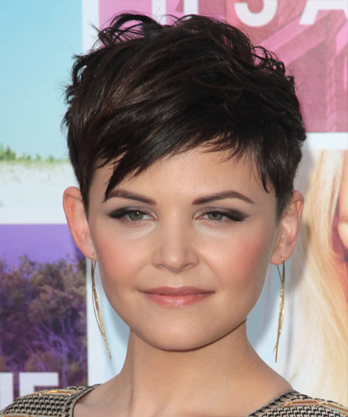 Ginnifer Goodwin   Layered  Dark Brunette Pixie  Cut with Side Swept Bangs