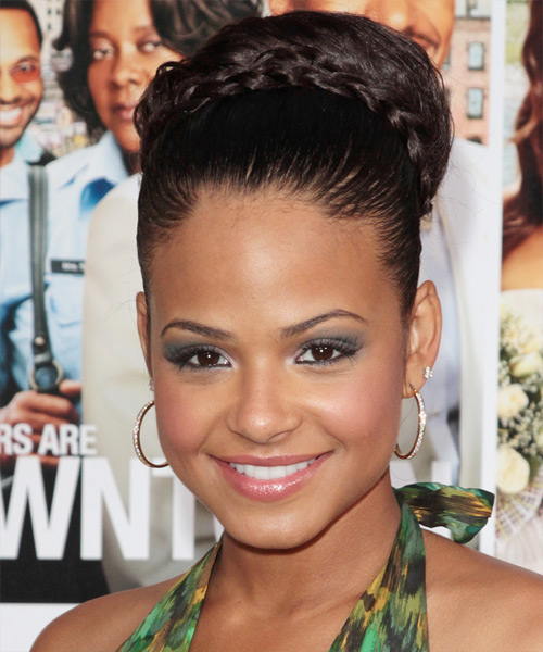 Christina Milian Long Braided Dark Brunette Updo with thin plaits and a Top Bun