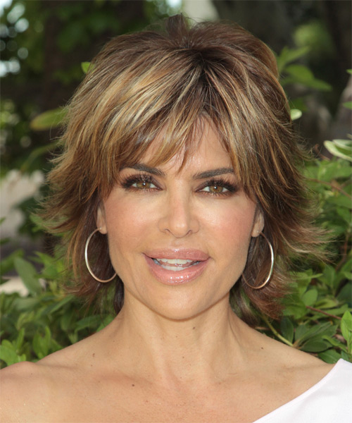 Lisa Rinna Short Straight Casual  Shag  Hairstyle with Razor Cut Bangs  -  Brunette Hair Color with  Blonde Highlights