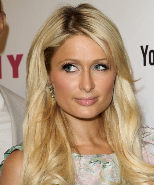 Paris Hilton Long Wavy Formal   Hairstyle with Side Swept Bangs  (Golden)