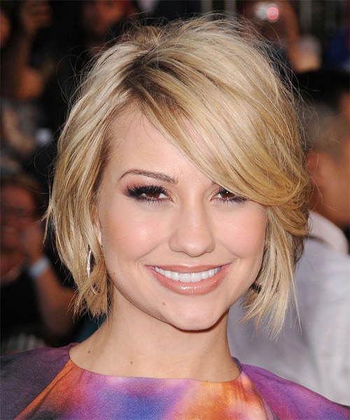 Chelsea Kane Short Straight Casual Layered Bob  Hairstyle with Side Swept Bangs  - Light Golden Blonde Hair Color