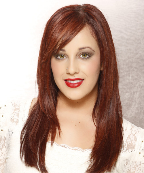 Long Straight    Auburn Red   Hairstyle with Side Swept Bangs
