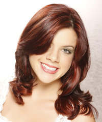 Medium Wavy Formal    Hairstyle with Side Swept Bangs  -  Burgundy Red Hair Color with  Red Highlights